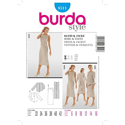 Burda Sewing Pattern 8511 for Dress & Jacket in Sizes ...