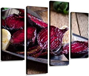 IGOONE 4 Panels Canvas Paintings - Sliced Baked Beetroot on Rustic Outdoor Party Table grillings and - Wall Art Modern Posters Framed Ready to Hang for Home Wall Decor