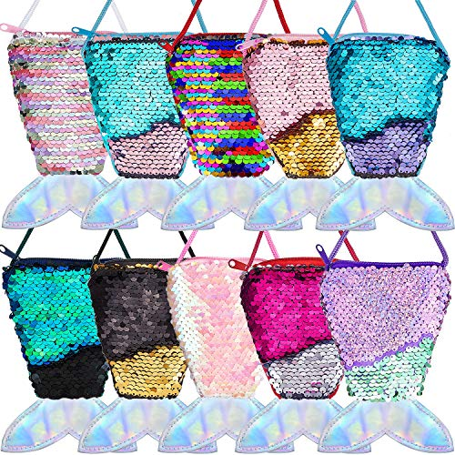 Mermaid Party Favors (10 Pieces Mermaid Tail Coin Purse Mermaid Tail Sequin Crossbody Coin Wallet Bags for Kids Little)