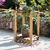 LJHA huajia Solid Wood Combination Flower Shelf Wooden Floor Multi - Storey pots Balcony Living Room Interior Flower Rack (Size Optional)