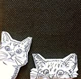 Sneak Peek Cats - Hand carved rubber stamp set