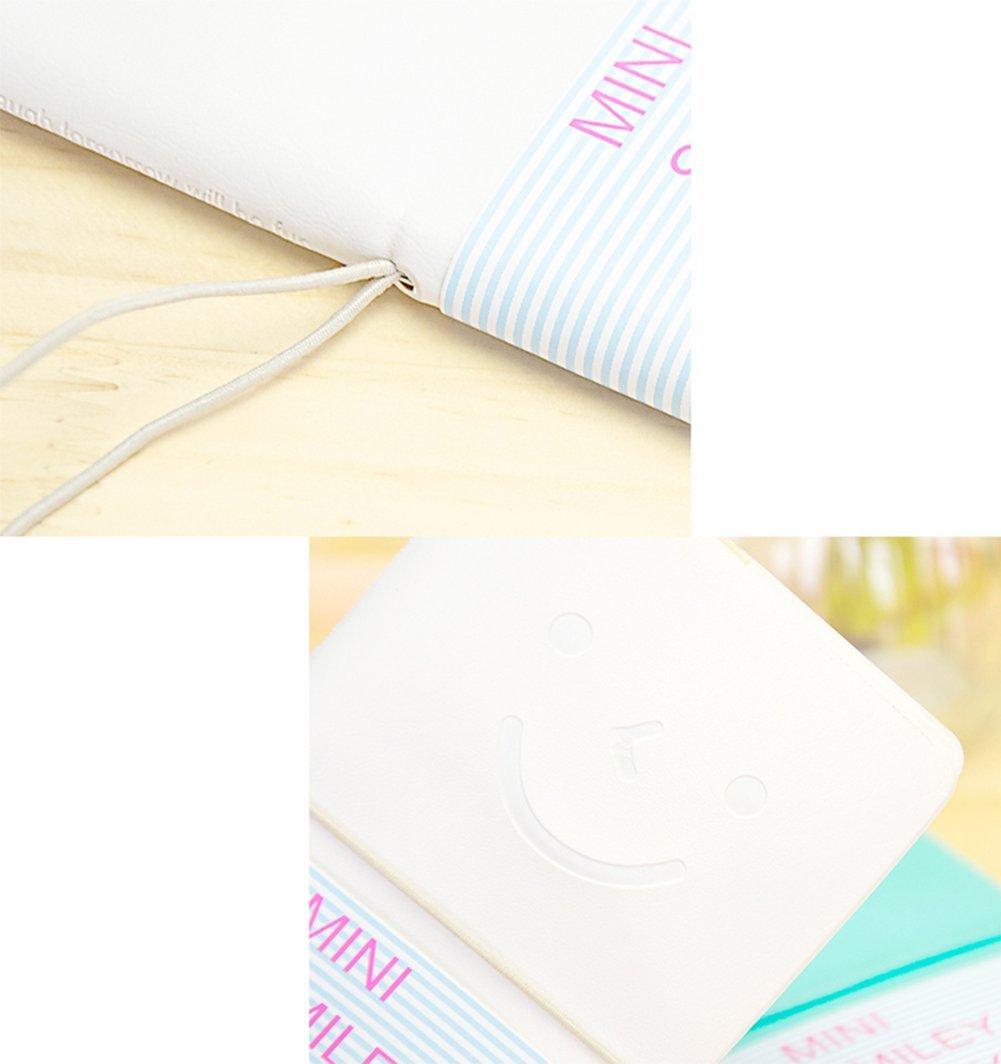 JUNGEN Cuaderno de la cubierta de cuero cuaderno patr/ón sonriente linda Diario Notas Notebook Libreta para Estudiantes 1PC