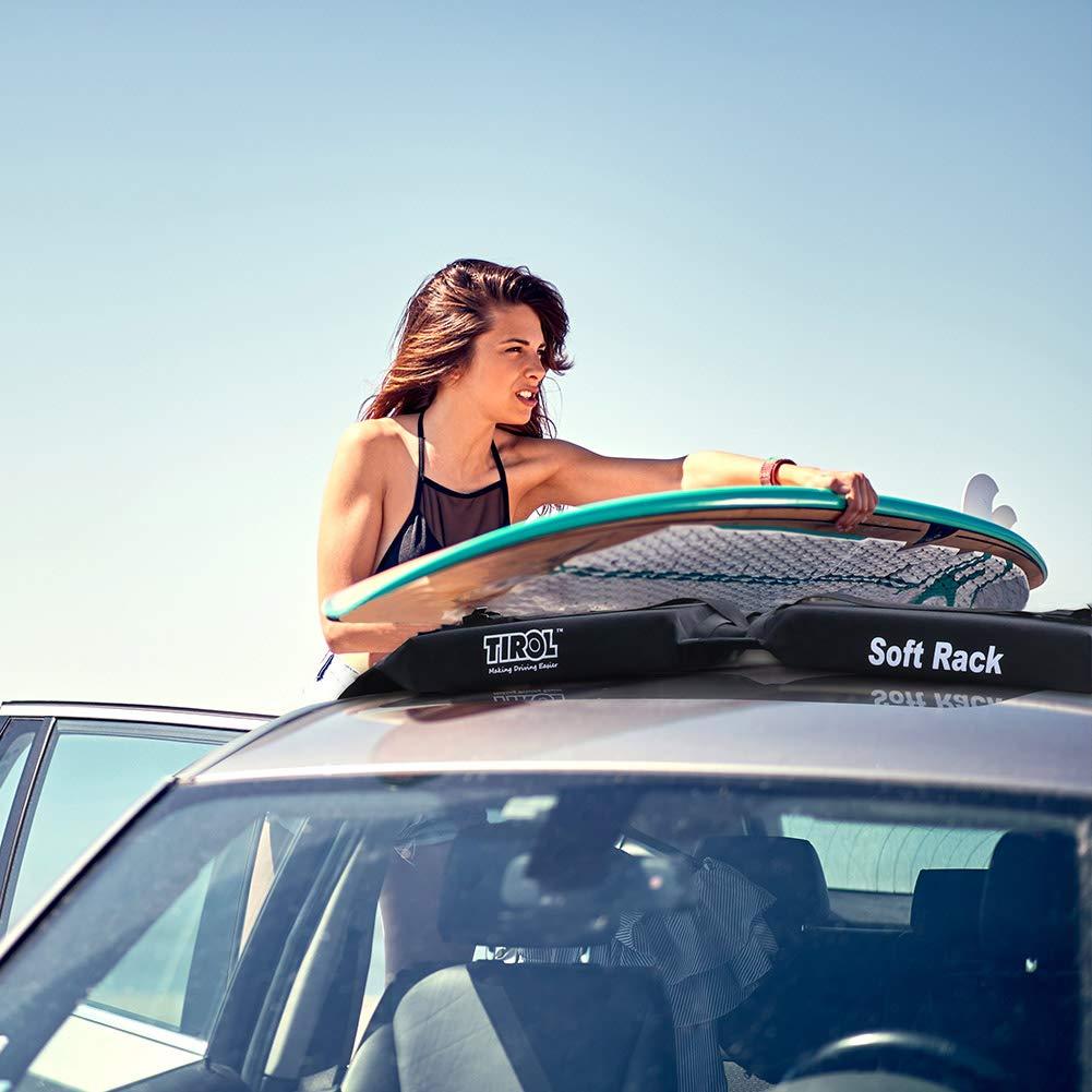 SmartSpec Car Soft Roof Rack Foldable Roof Bars 2Pcs Black Luggage Easy Rack Loading 60kgs Universal Car Cargo Carrier Rack for surfboard kayak paddleboard snowboard