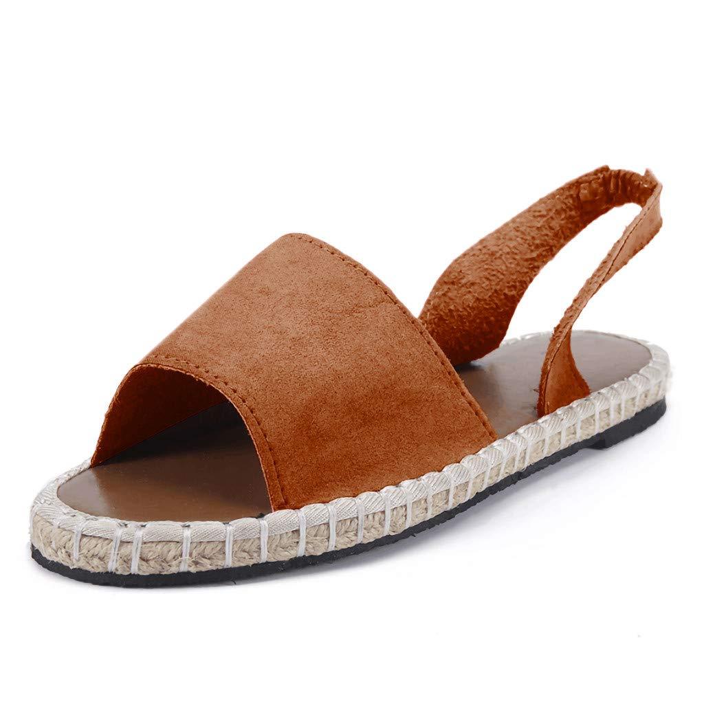 Women's Shoes for Women SYHKS Retro Women's Flat Ankle Strap Roman Slippers Sandals Ladies Beach Sandles for Women(Brown,35)