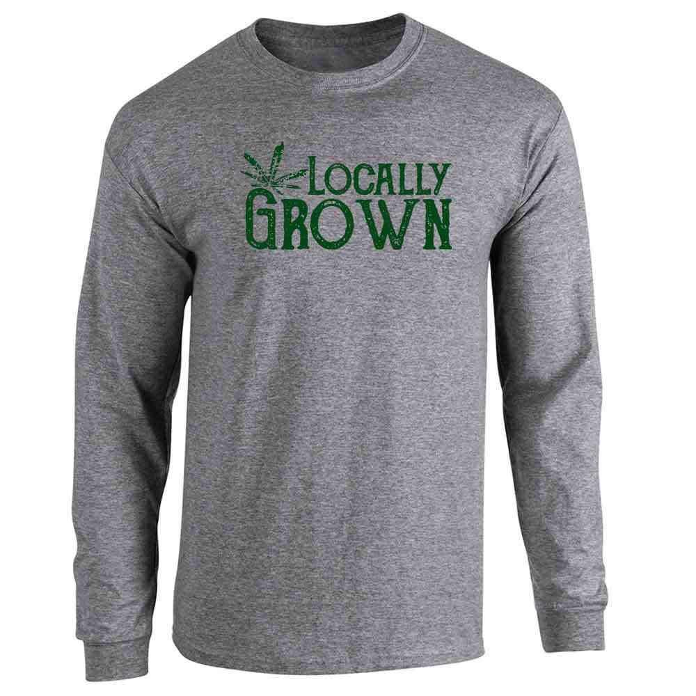 Locally Grown Marijuana Leaf Cannabis Pot 420 Full Long Sleeve Tee T-Shirt
