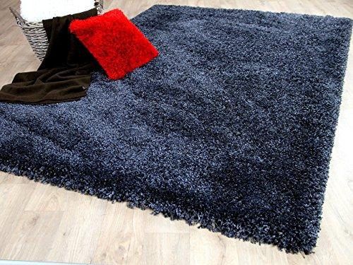 Hochflor Langflor Shaggy Teppich Luxury Schiefer Blau in 6 Größen REDUZIERT