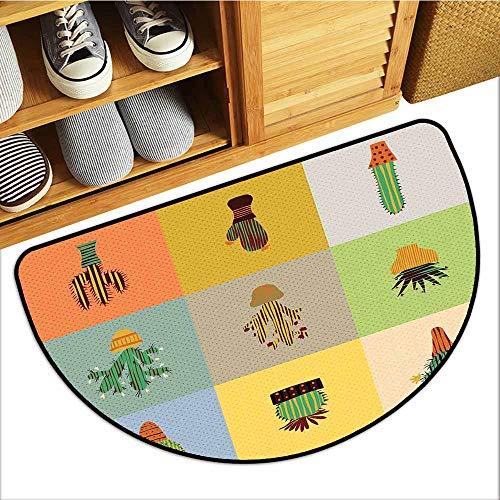 Custom&blanket Magic Non Slip Door Mat, Vintage Doormats for High Traffic Areas, Botanical Cactus Flowers in Vase Succulent Peyote Essence Tropical Polka Dots Motif (Multicolor, H20 x D32 Semicircle)