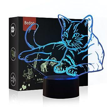 Cadeau Lumière Couleurs 3d Tactile Insérer D'anniversaire Kawaii Lampe Usb Illusion Noël Hexie Magique 7 Led Et Interrupteur De Kitten 5AjLR4