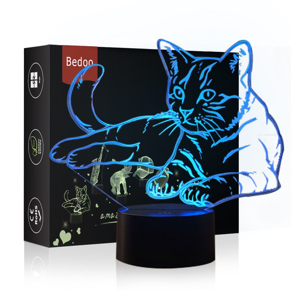 Bedoo Pressie Birthday Gift Delightful Cat Lamp Magic 3D Illusion 7 Colors Touch Switch USB Insert LED Light Christmas Present and Party Decoration