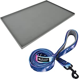 """Leashboss XL Mat and Space Leash - Silicone Dog Food Mat (Gray 25"""" x 17"""") and Double-Thick 6Ft Reflective Leash with Padded Handle (Space)"""