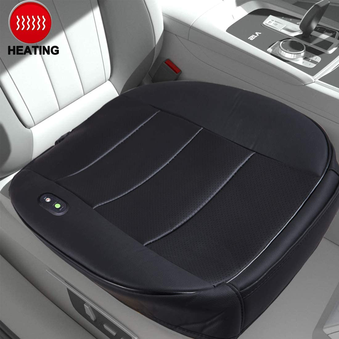 Big Hippo Car Seat Cushion, Edge Wrapping Car Front Seat Bottom Protector Cover Pad Mat with Heating for Auto with PU Leather (Black)