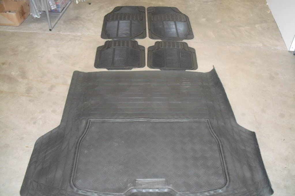 MANUAL Universal Heavy Duty Rubber Mats Universal Heavy Duty Rubber Boot Trunk Liner Mat Non Slip 2008 ON VOLVO V70 ESTATE