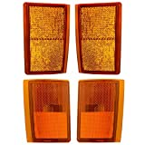 4 Piece Set Upper & Lower Signal Side Marker Reflector Lights for Chevrolet Pickup Truck SUV