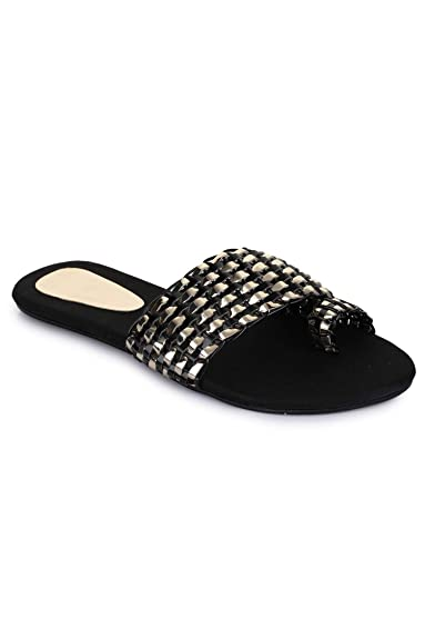 e59772b28f66 Women s Casual Flat Black Slipper   Appe-00290  Buy Online at Low Prices in  India - Amazon.in