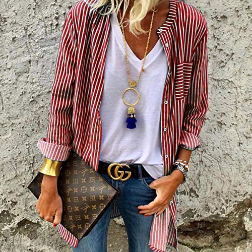 Casual Automne Printemps Mode Rouge Longues Shirts Outerwear Hauts Cardigan Tops Raye JackenLOVE Chemises Femmes Blouse Chemisiers Manches UfPWR5wwq