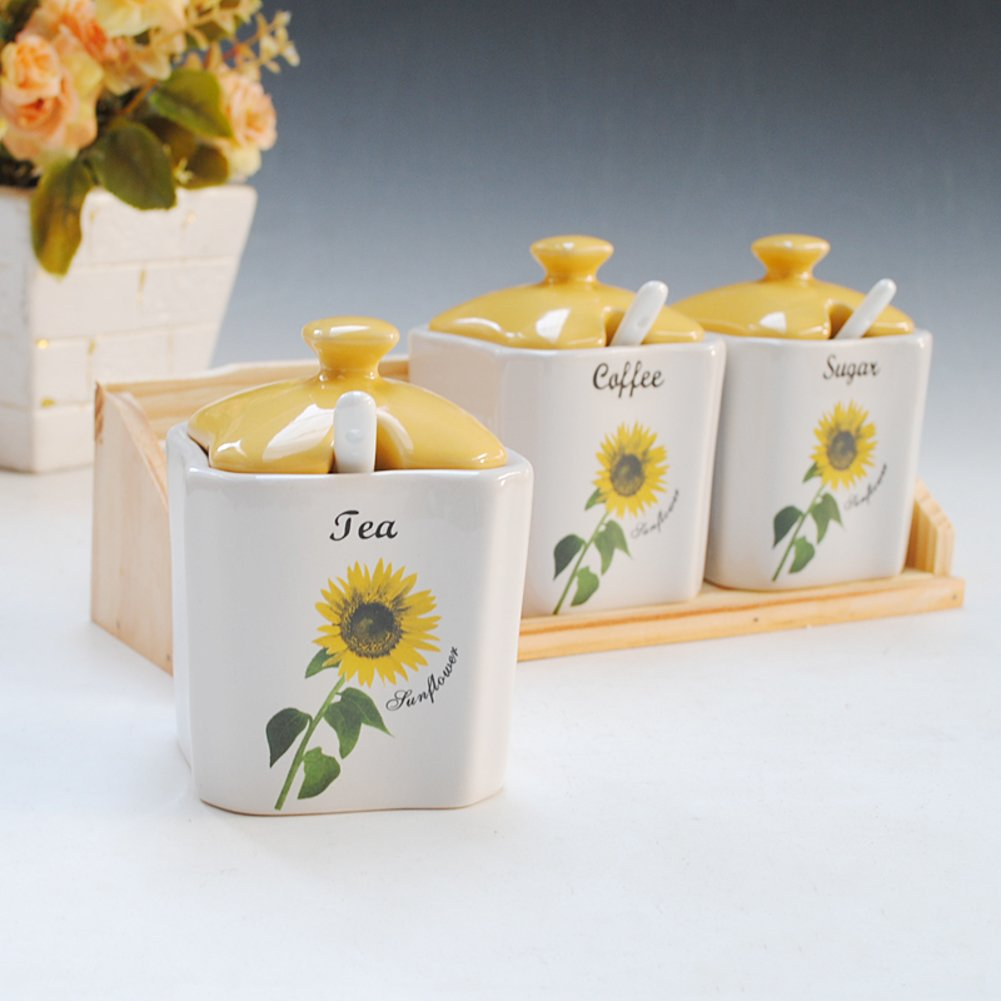 Modern spice bottles three-piece Spice jar Sunflower cruet daily kitchen Spice jar-A DOUSHIO