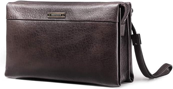 Men Briefcase Leather Man Purse Business Bag with Belt Wallet BLACK
