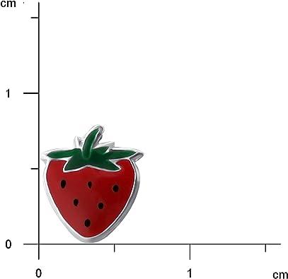 JAYARE/® Boucles doreille Enfants fraises 8 x 7 mm Argent 925//1000 rouge vert noir avec /étui clou doreille filles