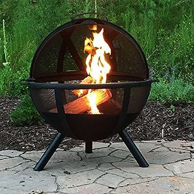 Sunnydaze Black Flaming Ball Fire Pit, 30 Inch Diameter Sphere
