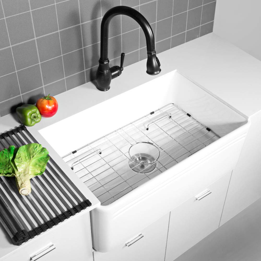Sarlai 30'' Farmhouse Kitchen Sink White Porcelain Vitreous, SUC3018R1 Fireclay Single Bowl Kitchen Sink by Sarlai (Image #9)