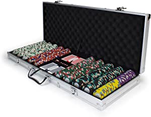 Claysmith Gaming 500ct Monaco Club Poker Chip Set in Aluminum Carry Case, 13.5-Gram Heavyweight Clay Composite