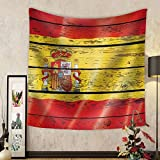 Gzhihine Custom tapestry Flag of Spain on a Wooden Background - Fabric Tapestry Home Decor