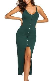 d94d15e1b688 Women s Adjustable Strappy Bodycon Button Down Split Summer Beach Maxi  Dresses