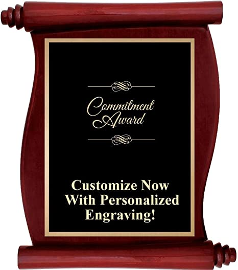 Personalized Commitment Award Plaque with Up to 5 Lines of Engraving Included Prime Custom Engraved Rosewood Scroll Plaques