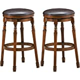 COSTWAY Set of 2 Backless Bar Stools, 29-Inch Counter Height Round Stool with 360° Swivel Cushioned Seat, Soft PU Leather Bar
