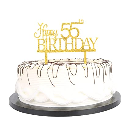 Gold Acrylic Happy Birthday Cake Toppers Decorations Tool Party Supplies 55 55th