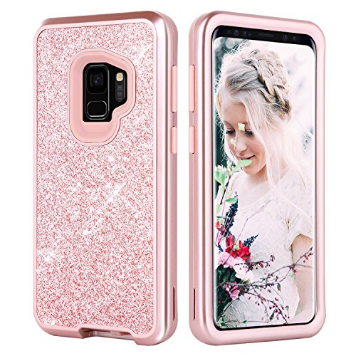 Galaxy S9 Case, Samsung Galaxy S9 Case, DUEDUE Luxury Glitter Bling Full-body Case Rugged PC Bumper with Heavy Duty 3 in 1 Shockproof Anti-Scratch Leather Protective Cover for Samsung S9, Rose Gold