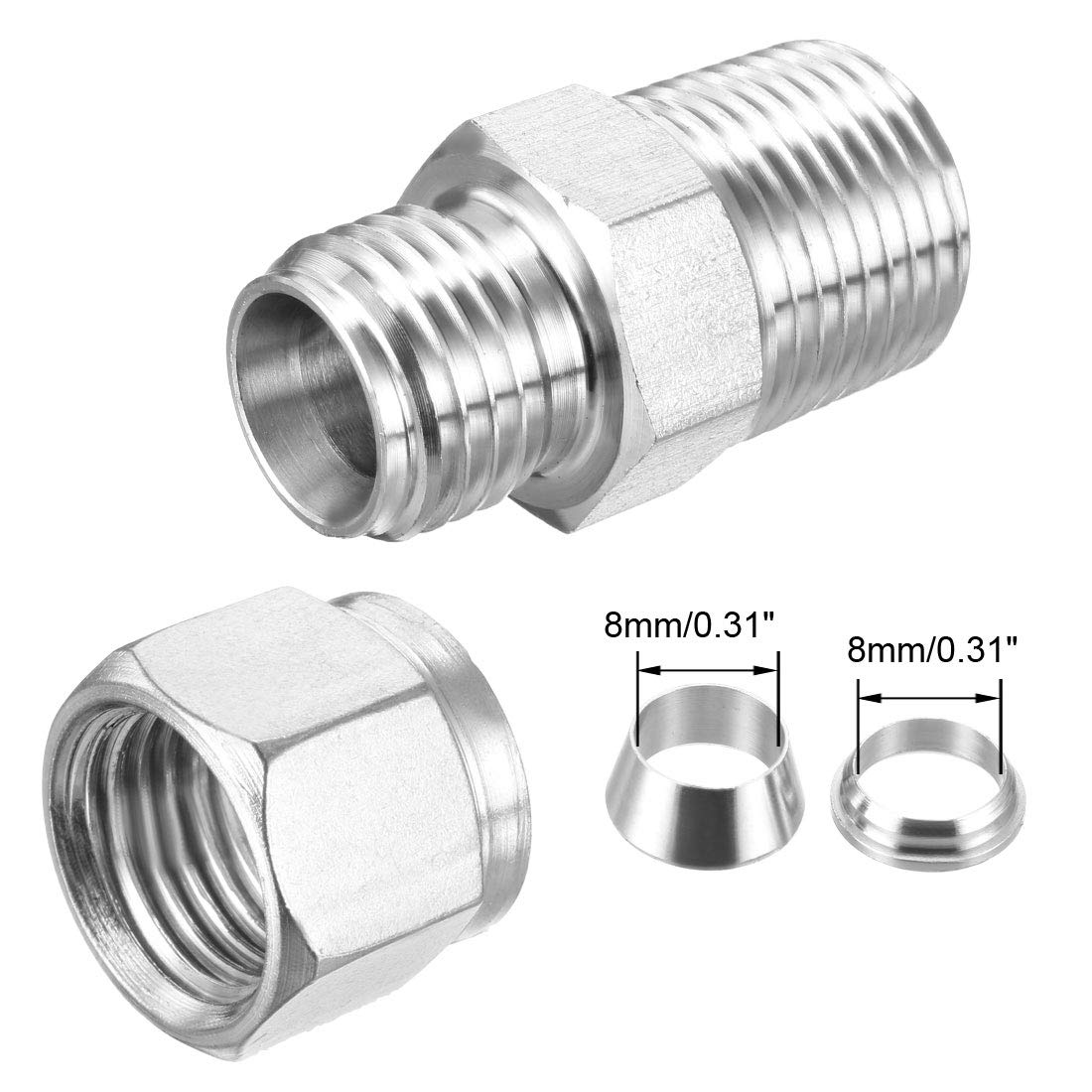 L 316 STAINLESS STEEL COMPRESSION FITTINGS  08MM X 08MM OD EQUAL COUPLER ST//ST
