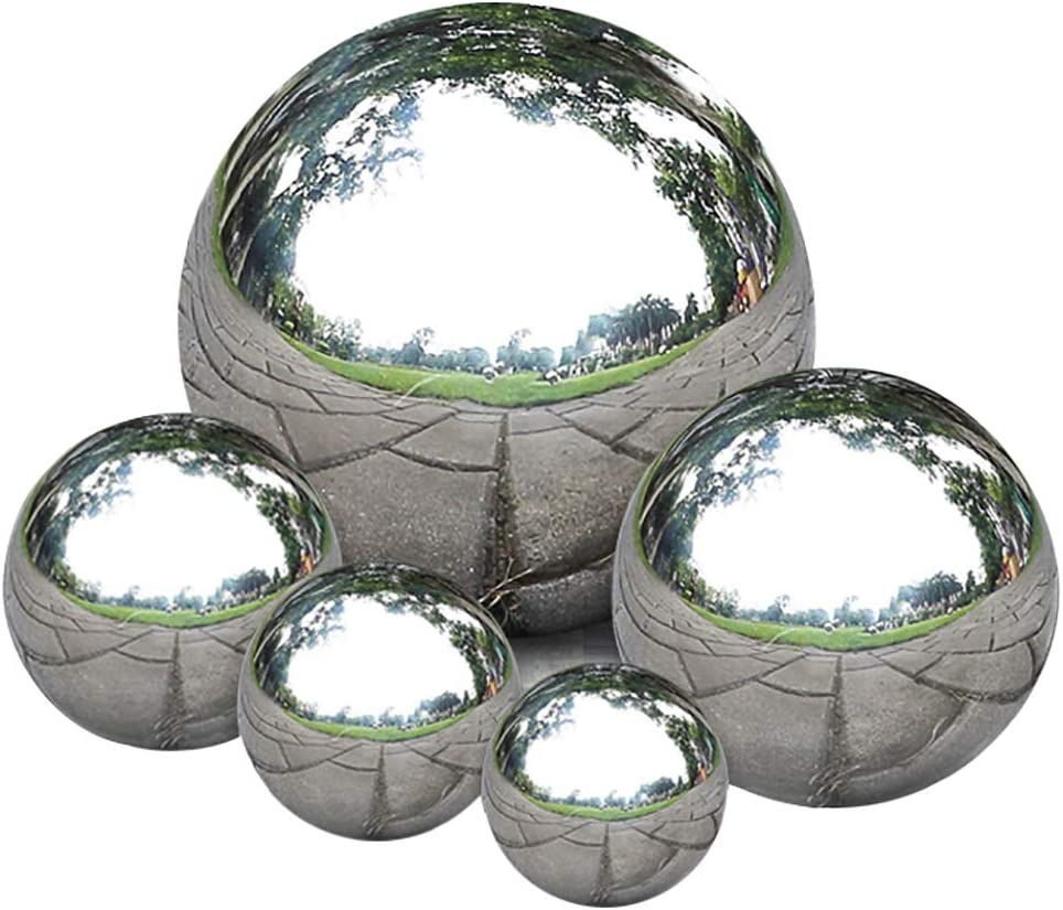 Nerien 5pcs Silver Mirror Ball Stainless Steel Gazing Ball Polished Globe Reflective Smooth Garden Sphere Home Ornament Garden Decorations