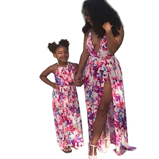 83198a9f185 Mommy and Me Dresses Casual Floral Family Outfits Summer Matching Maxi Long  Dress (3 T