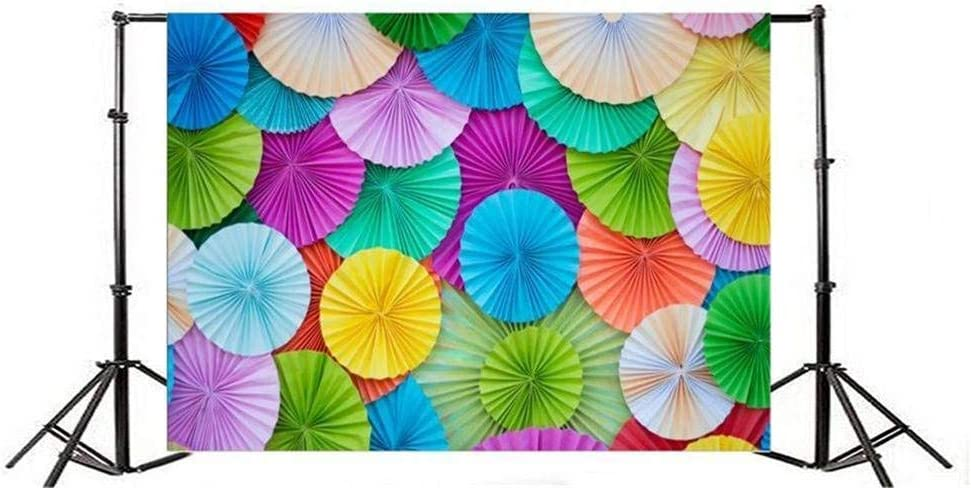 Color Paper Background 10x6.5ft Polyester Photo Backdrop Photography Background Circle Shape Origami Rainbow Colors Papers Flowers Texture Folded Decorations Holiday Party Birthday Children Girl