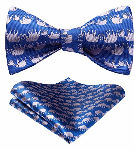 (HISDERN Men's Elephant pattern Self Tie Bow Tie And Pocket Square)