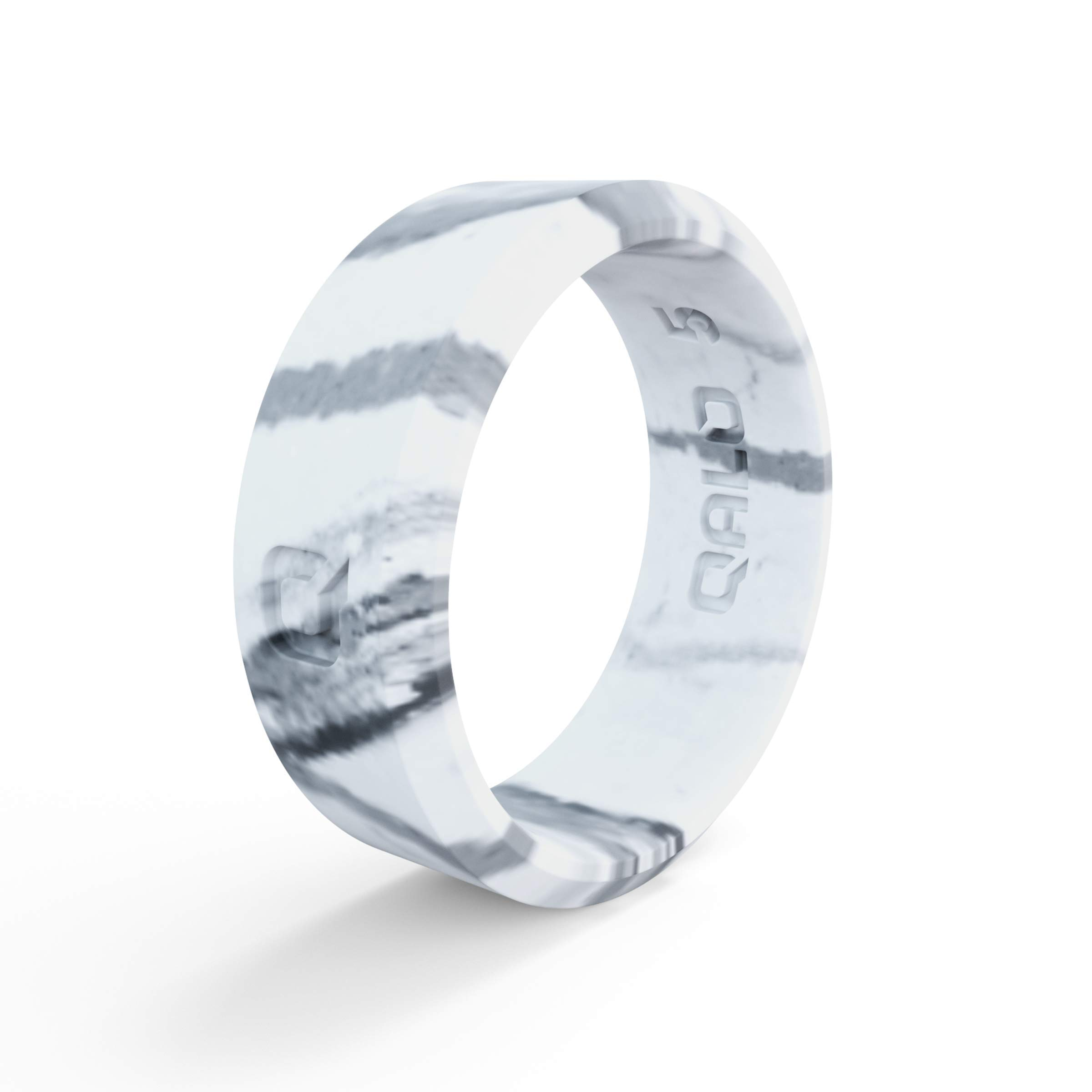 QALO Women's White Marble Modern Silicone Ring Size 05