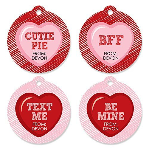 Custom Valentine's Day Conversation Hearts - 20 Round Assorted Personalized Valentine's Day Party Die-Cut - Conversation Hearts Personalized