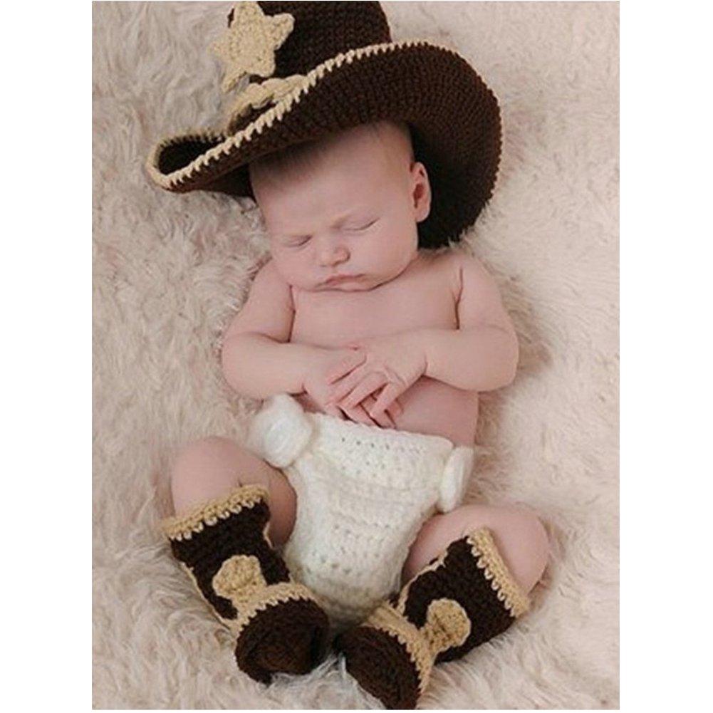 binlunnu recién nacido fotografía Props Boy Girl Crochet Costume Outfits  Sombrero de cowboy pantalones de maletero  Amazon.es  Bebé 41e54222a64