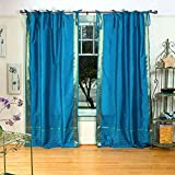 Lined-Turquoise Tie Top Sheer Sari Curtain / Drape – 43W x 84L – Piece For Sale