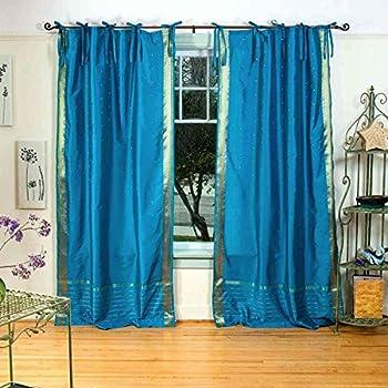 Elegant Lined Turquoise Tie Top Sheer Sari Curtain / Drape   43W X 84L   Piece