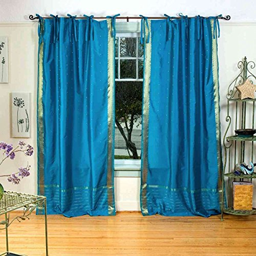 Lined-Turquoise Tie Top Sheer Sari Curtain / Drape - 43W x 84L - Piece