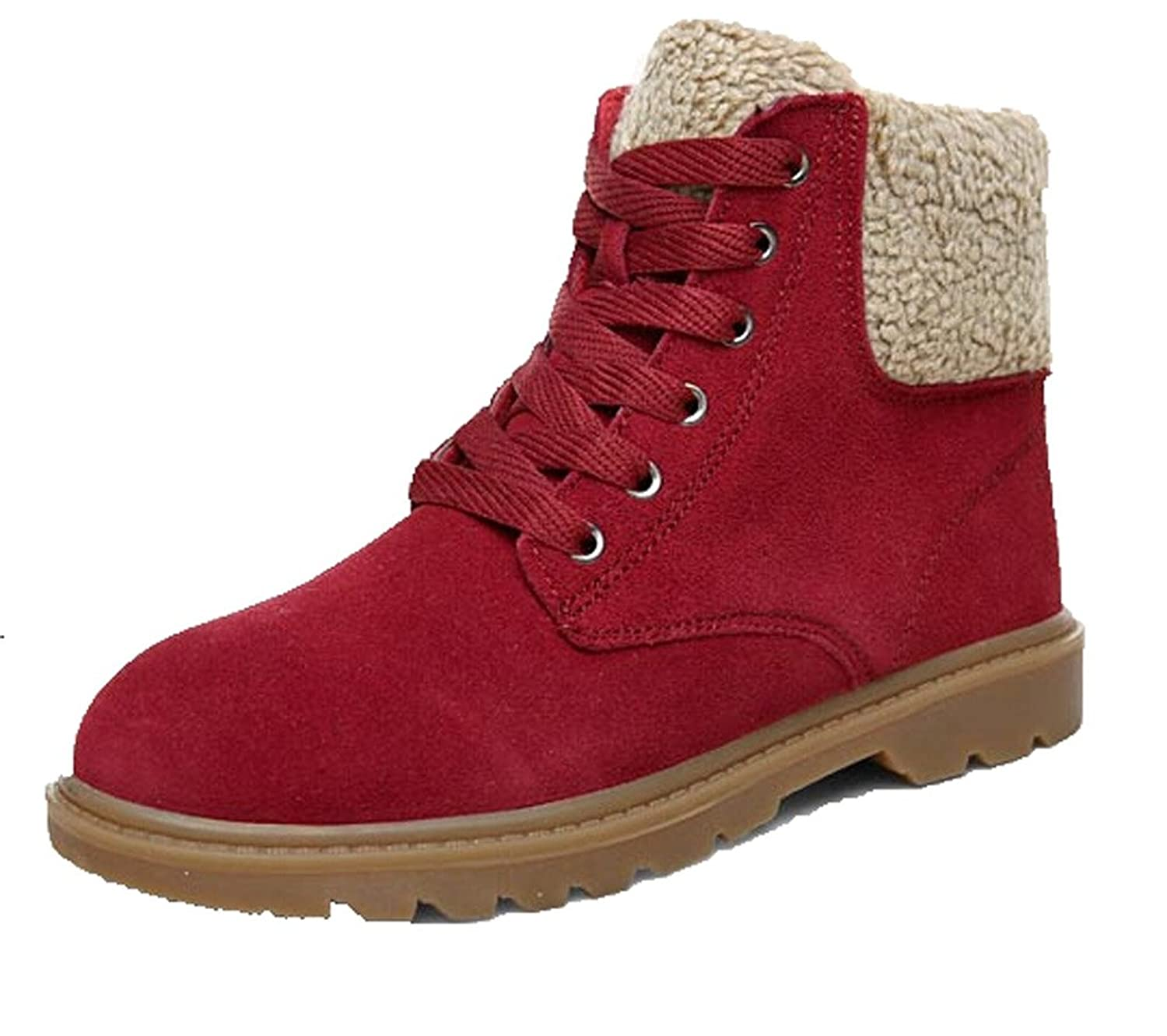 Women's 100% Genuine Leather Lace up Martin Snow Boot