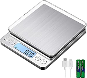 KUBEI Upgraded Large Range Small Kitchen Scale 1kg/0.01g, USB Charging Mini Food Electronic Scale, High Accuracy Cooking Scale, Pocket Scale with LCD Display