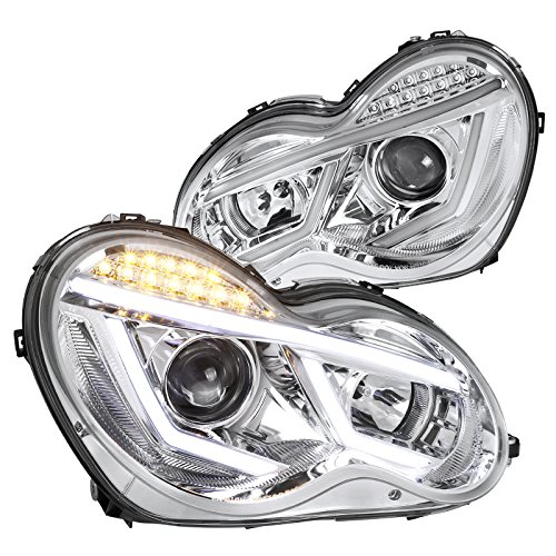 Mercedes Benz W203 C-Class LED DRL Strip Signal Clear Projector Headlights - C230 Coupe Headlights