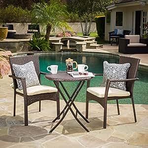 Elba Outdoor-Juego de mesa de jardín de mimbre con cojines por Christopher Caballero Casa