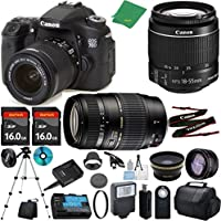 Canon EOS 70D Camera with 18-55mm IS STM + Tamron 70-300mm AF + 2pcs 16GB Memory + Case + Reader + Tripod + ZeeTech Starter Set + Wide Angle + Telephoto + Flash + Filter