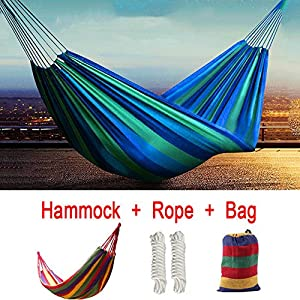 Portable 2 Person Cotton Rope Hanging Hammock Swing Fabric Camping Canvas Bed(color sent randomly)