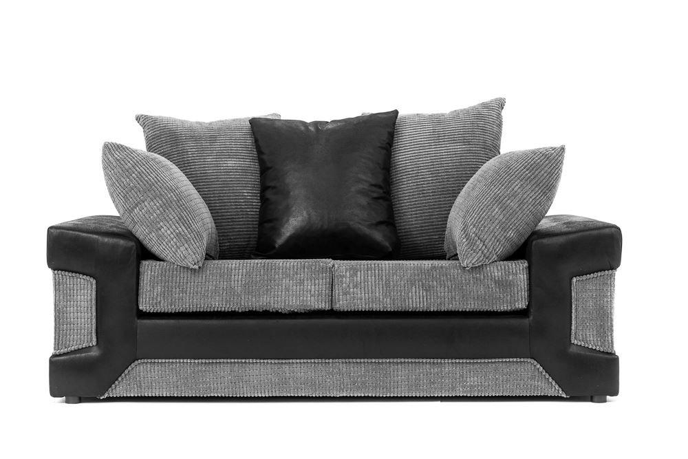 Dino Ecksofa in Schwarz & Grau mit einem Fußhocker, 2-oder 3-Sitzer oder Drehstuhl, Grau, Two_Seats