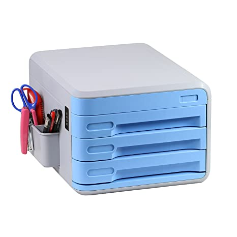 Desk Storage Drawer, 3 Storage Drawers And File Sorters With Combination  Lock For Documents,